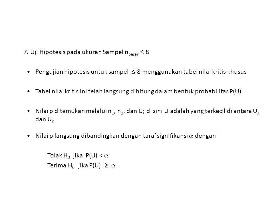 7. Uji Hipotesis pada ukuran Sampel nbesar  8