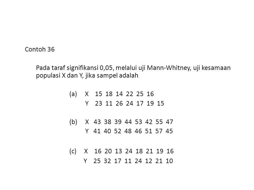 Contoh 36 Pada taraf signifikansi 0,05, melalui uji Mann-Whitney, uji kesamaan populasi X dan Y, jika sampel adalah.