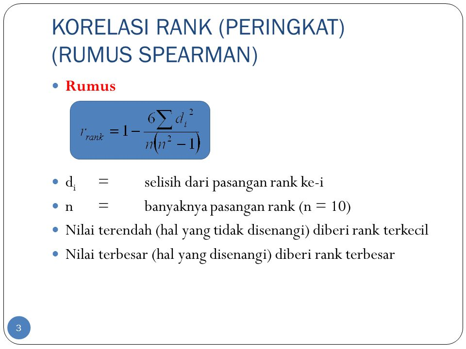 KORELASI RANK (PERINGKAT) (RUMUS SPEARMAN)