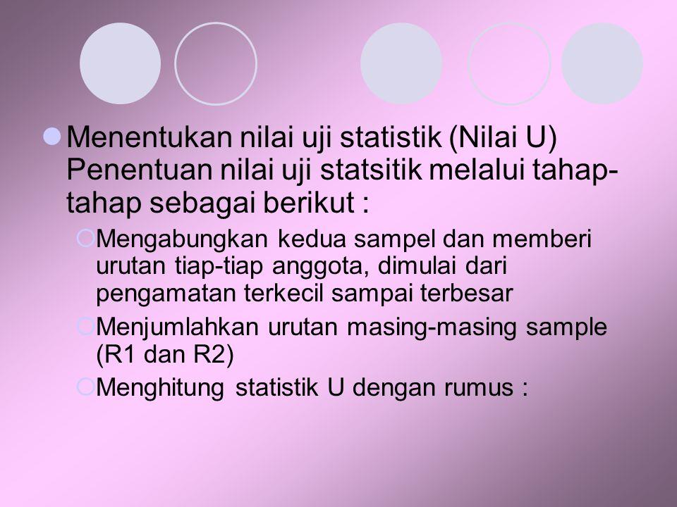 Menentukan nilai uji statistik (Nilai U) Penentuan nilai uji statsitik melalui tahap-tahap sebagai berikut :