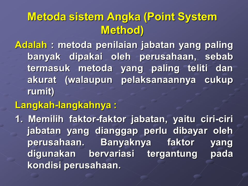Metoda sistem Angka (Point System Method)