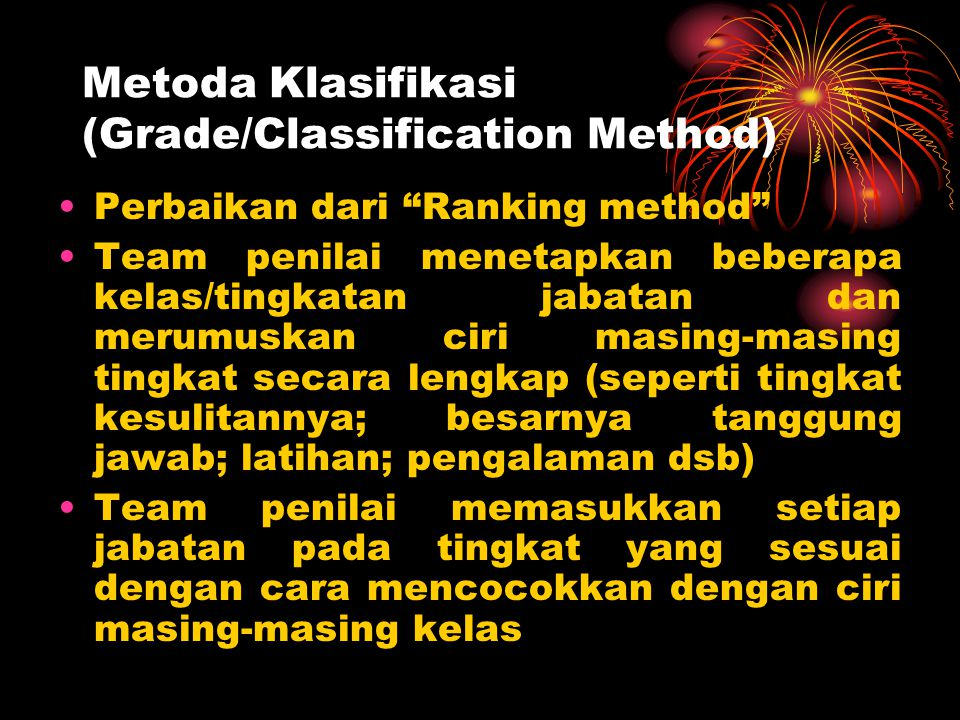 Metoda Klasifikasi (Grade/Classification Method)