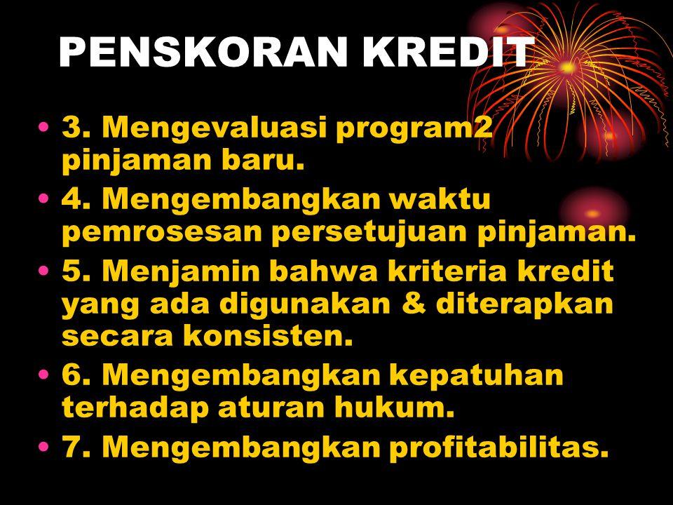 PENSKORAN KREDIT 3. Mengevaluasi program2 pinjaman baru.