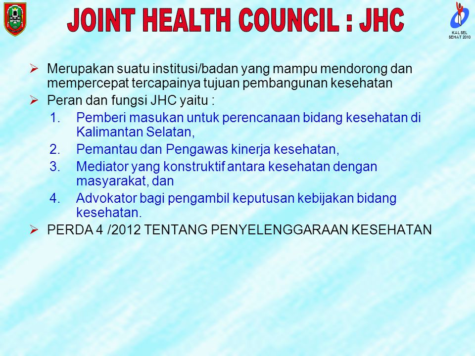 JOINT HEALTH COUNCIL : JHC