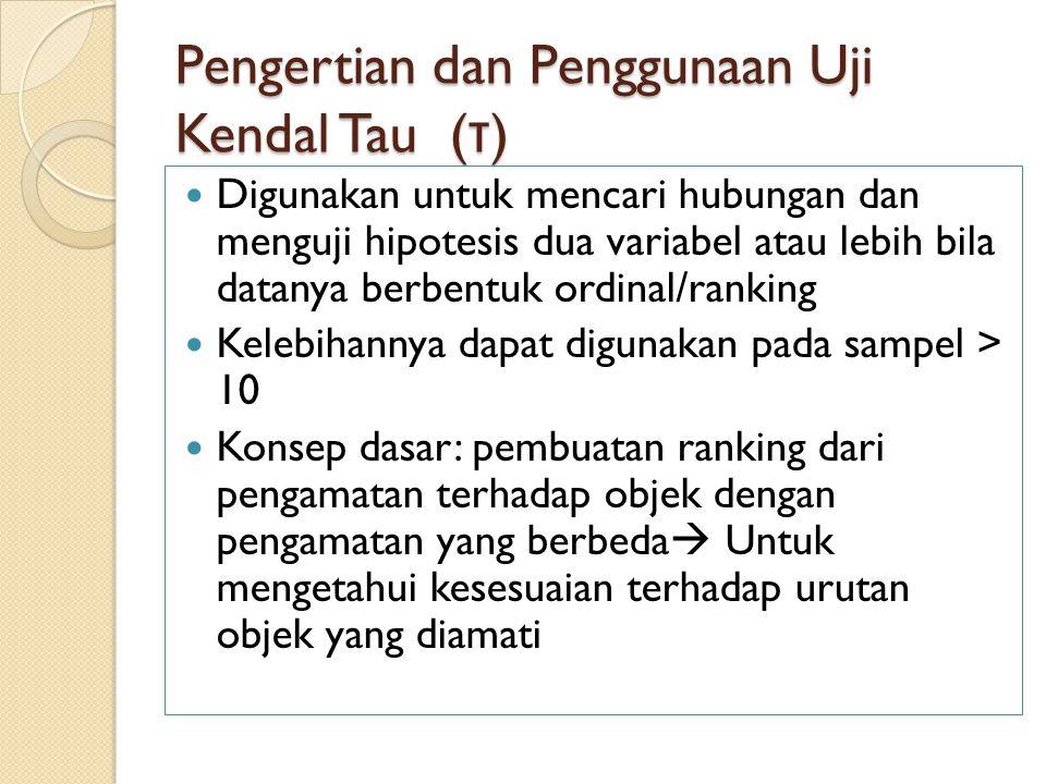 Pengertian dan Penggunaan Uji Kendal Tau (τ)