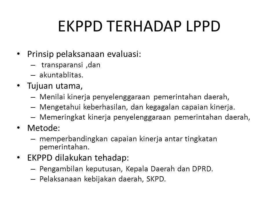 EKPPD TERHADAP LPPD Prinsip pelaksanaan evaluasi: Tujuan utama,