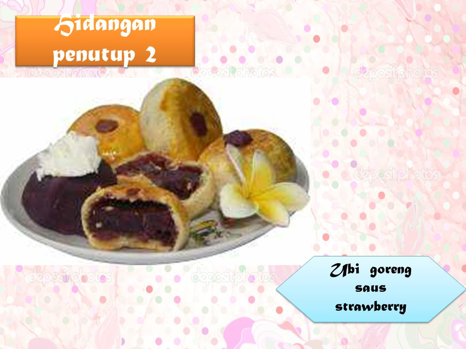 Ubi goreng saus strawberry