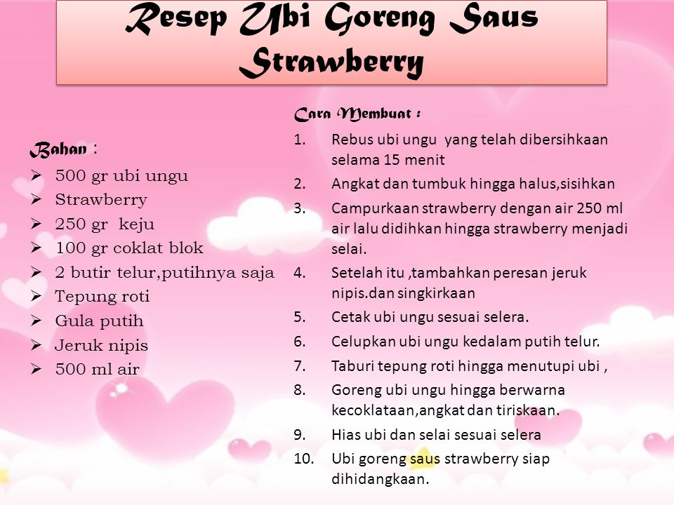 Resep Ubi Goreng Saus Strawberry