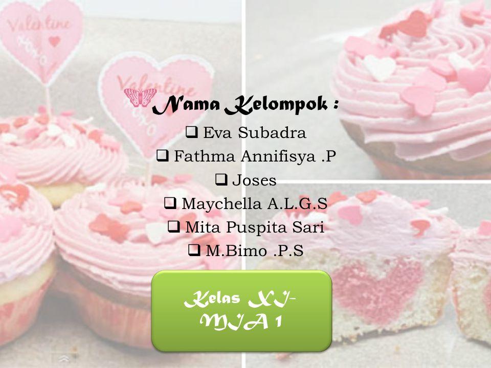 Nama Kelompok : Kelas XI-MIA 1 Eva Subadra Fathma Annifisya .P Joses