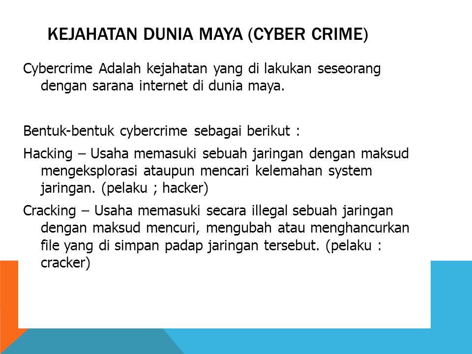 Kejahatan dunia maya (cyber crime)