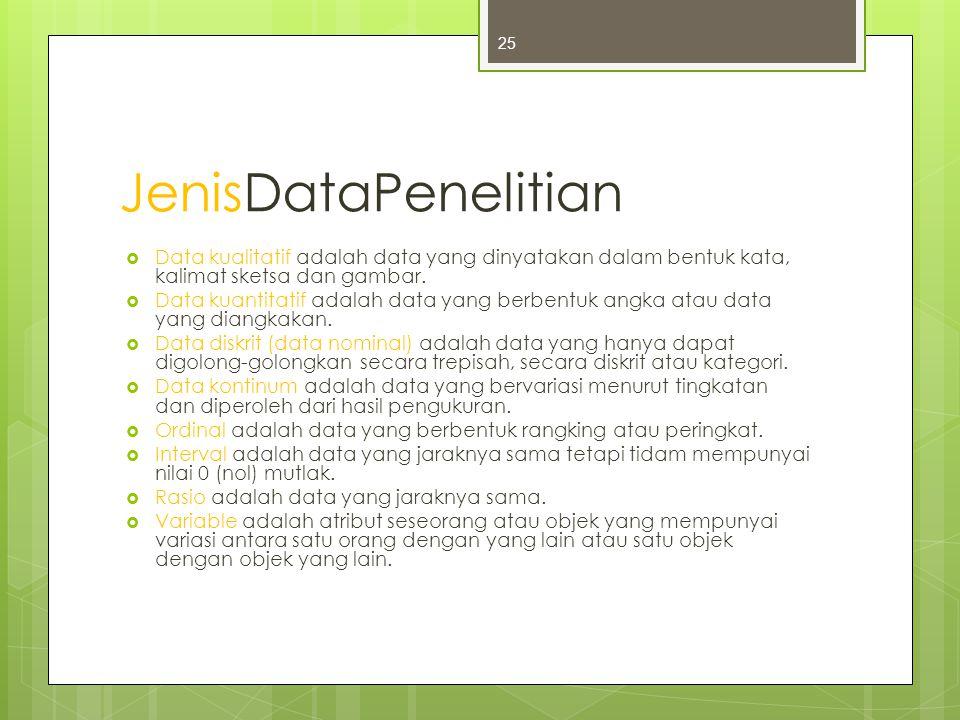 JenisDataPenelitian Data kualitatif adalah data yang dinyatakan dalam bentuk kata, kalimat sketsa dan gambar.