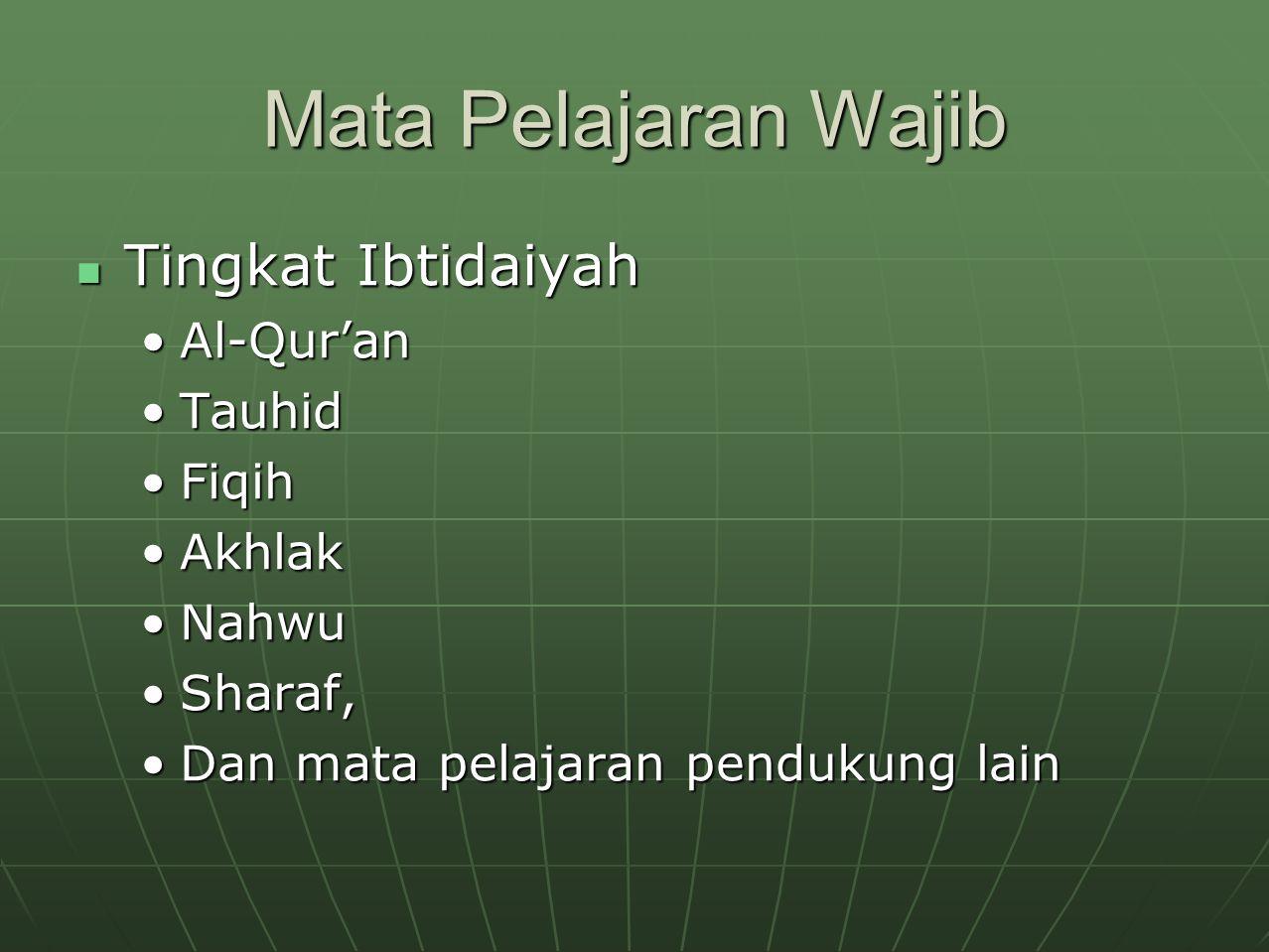 Mata Pelajaran Wajib Tingkat Ibtidaiyah Al-Qur'an Tauhid Fiqih Akhlak