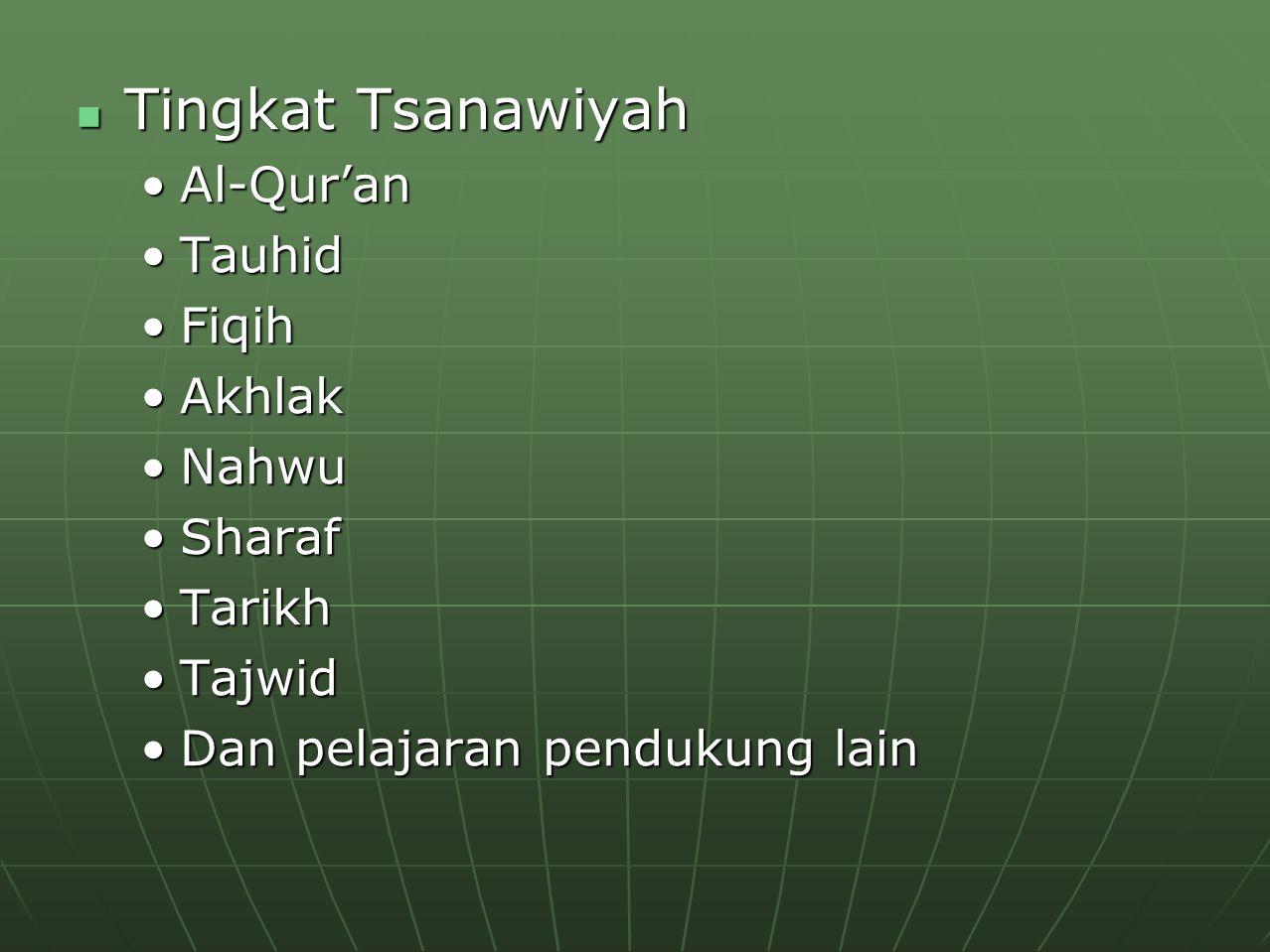Tingkat Tsanawiyah Al-Qur'an Tauhid Fiqih Akhlak Nahwu Sharaf Tarikh