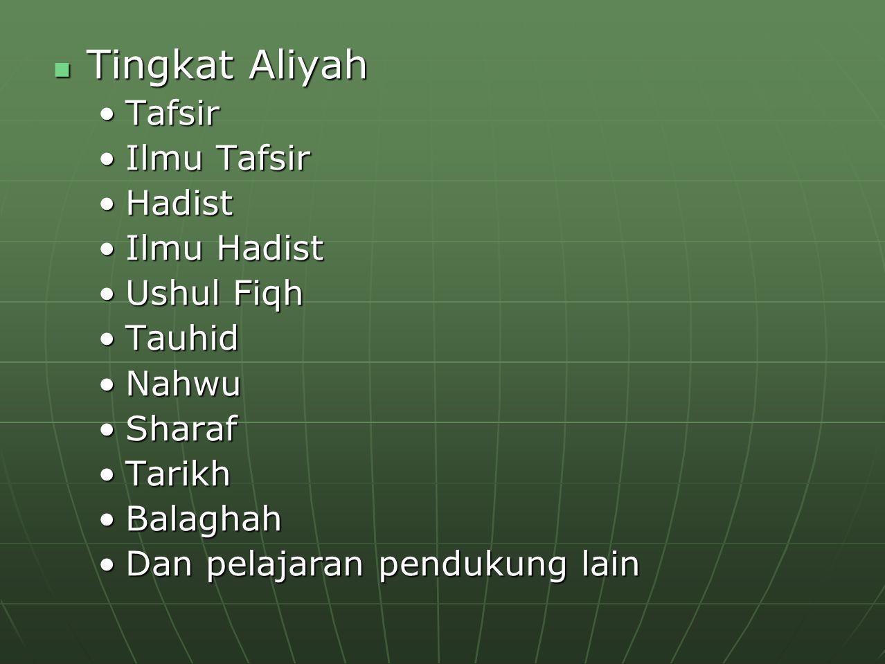 Tingkat Aliyah Tafsir Ilmu Tafsir Hadist Ilmu Hadist Ushul Fiqh Tauhid