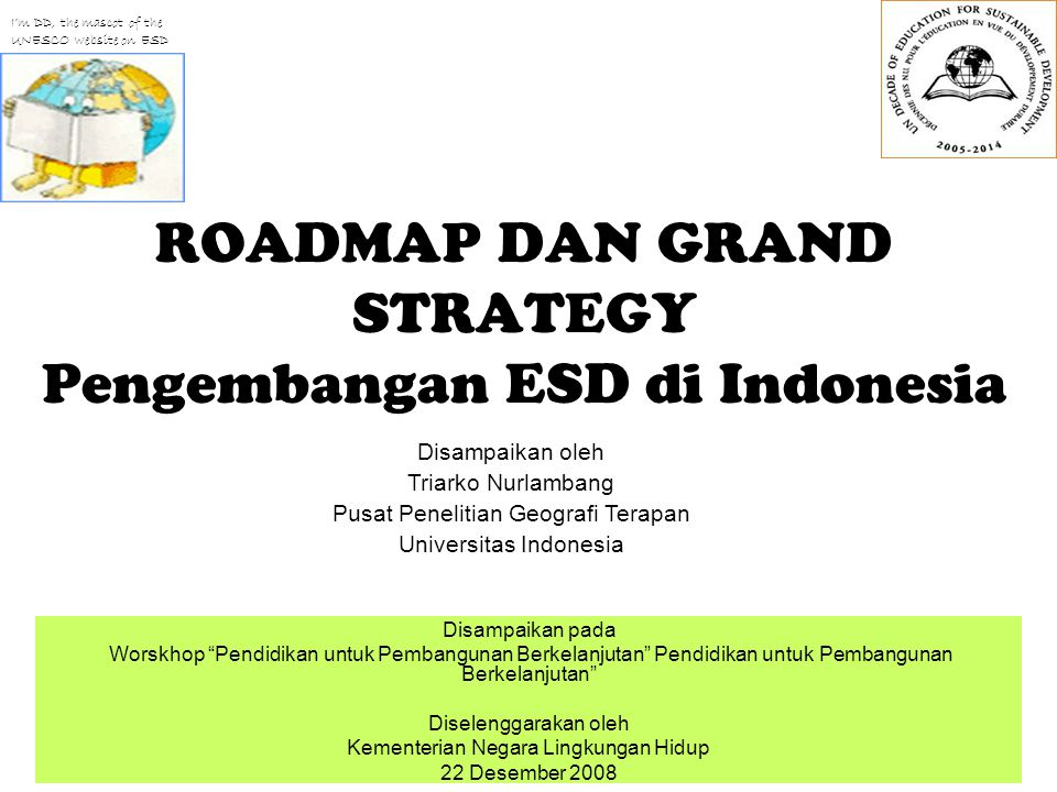 ROADMAP DAN GRAND STRATEGY Pengembangan ESD di Indonesia