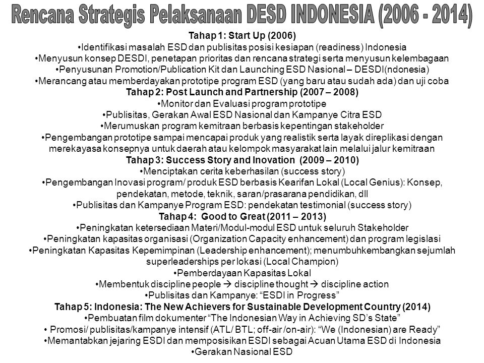 Rencana Strategis Pelaksanaan DESD INDONESIA (2006 - 2014)