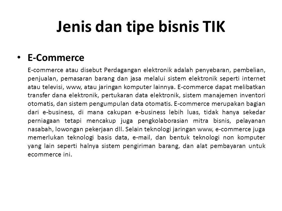 Jenis dan tipe bisnis TIK