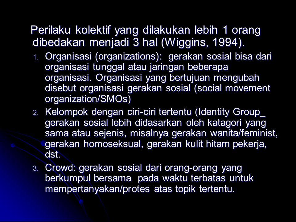 Perilaku kolektif yang dilakukan lebih 1 orang dibedakan menjadi 3 hal (Wiggins, 1994).