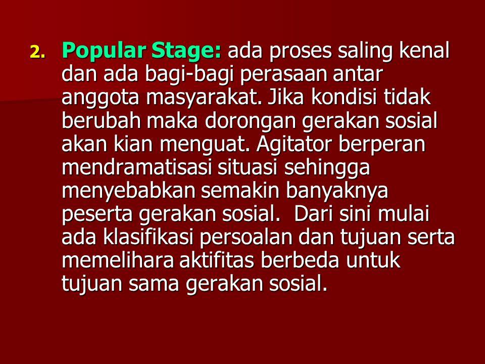 Popular Stage: ada proses saling kenal dan ada bagi-bagi perasaan antar anggota masyarakat.