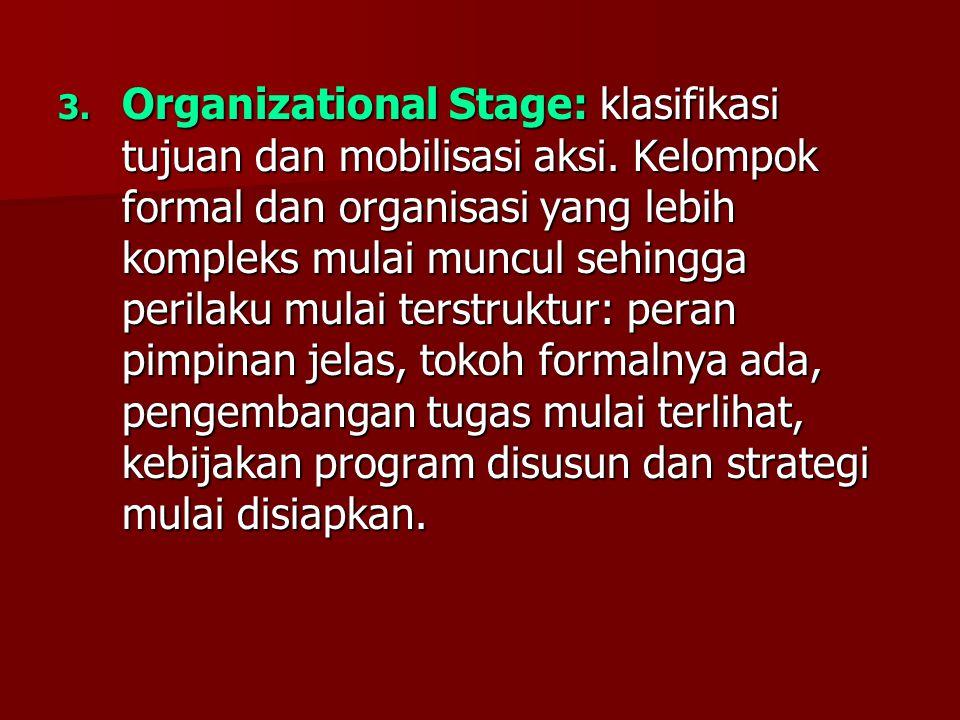Organizational Stage: klasifikasi tujuan dan mobilisasi aksi