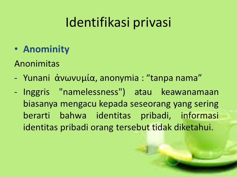 Identifikasi privasi Anominity Anonimitas