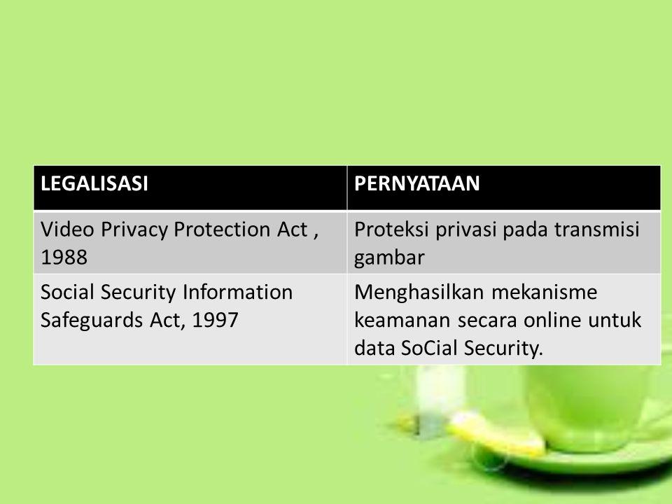LEGALISASI PERNYATAAN. Video Privacy Protection Act , 1988. Proteksi privasi pada transmisi gambar.