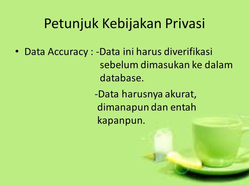 Petunjuk Kebijakan Privasi