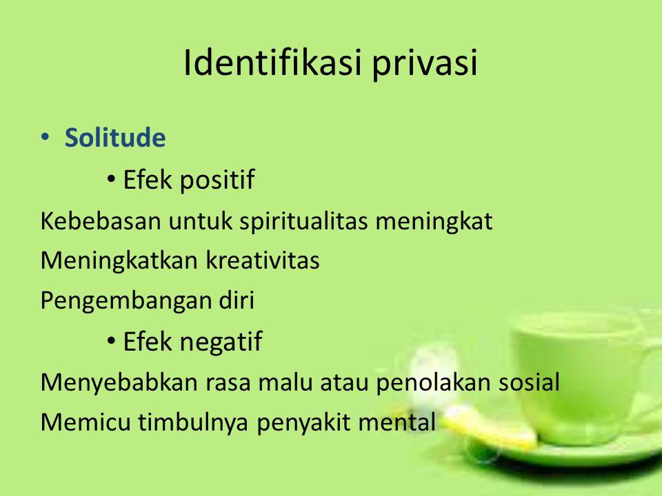 Identifikasi privasi Solitude Efek positif Efek negatif