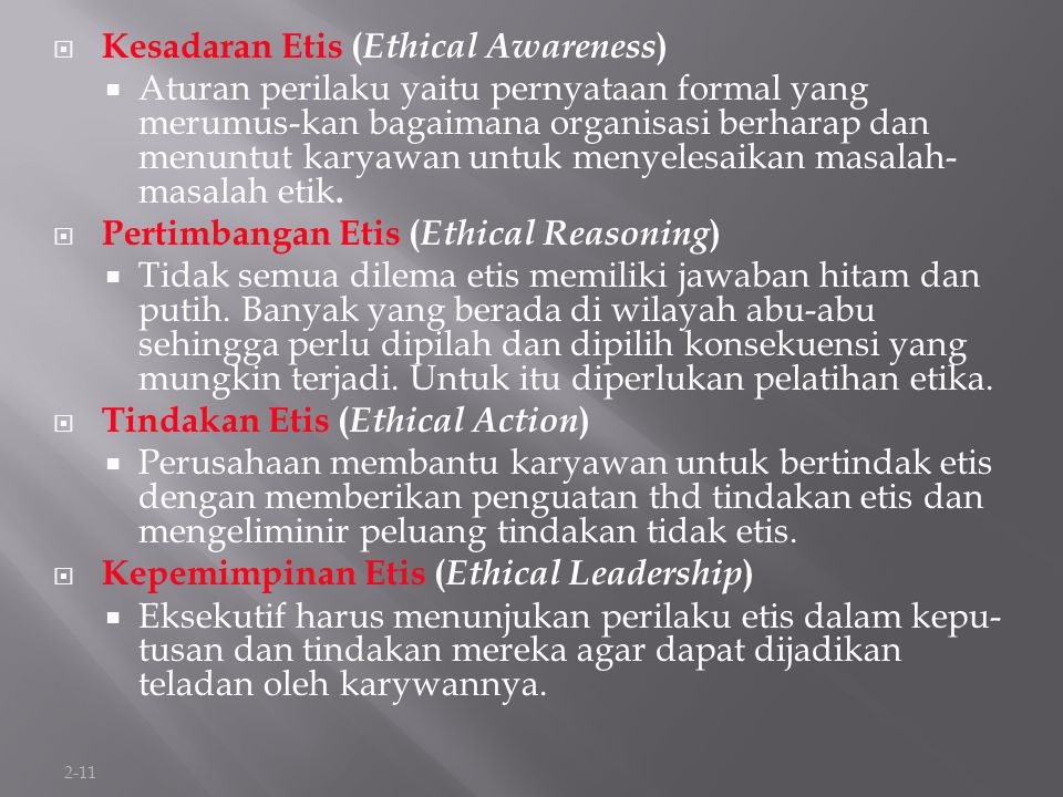 Kesadaran Etis (Ethical Awareness)