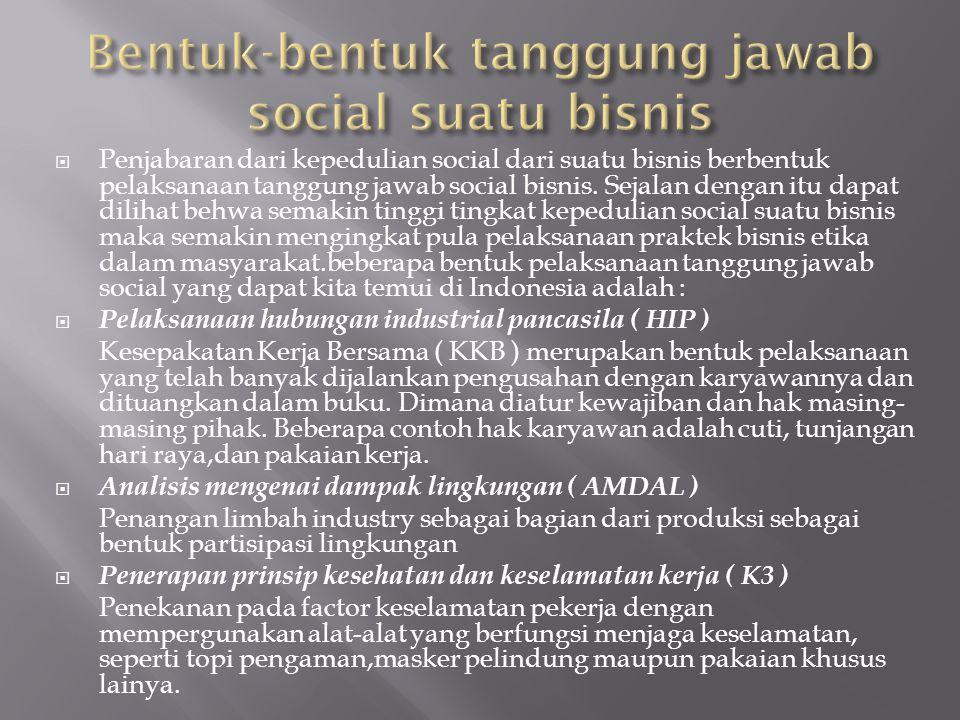 Bentuk-bentuk tanggung jawab social suatu bisnis