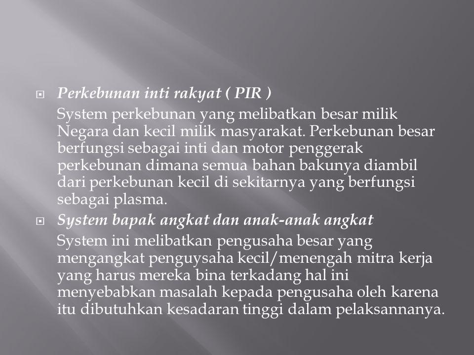 Perkebunan inti rakyat ( PIR )