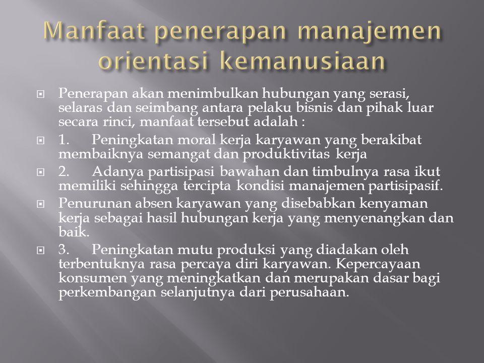 Manfaat penerapan manajemen orientasi kemanusiaan