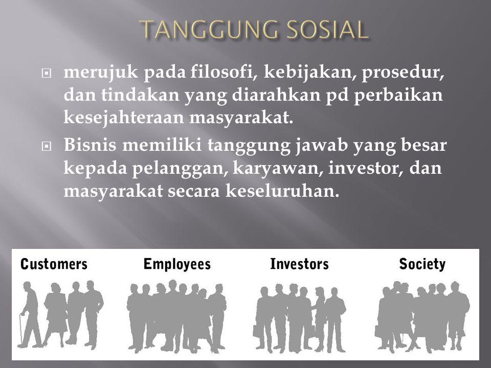 TANGGUNG SOSIAL merujuk pada filosofi, kebijakan, prosedur, dan tindakan yang diarahkan pd perbaikan kesejahteraan masyarakat.