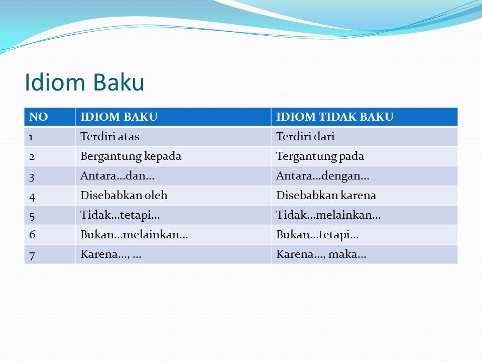 Idiom Baku NO IDIOM BAKU IDIOM TIDAK BAKU 1 Terdiri atas Terdiri dari