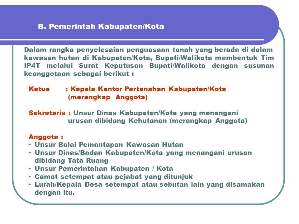 B. Pemerintah Kabupaten/Kota