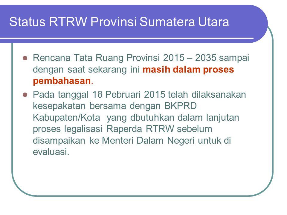 Status RTRW Provinsi Sumatera Utara