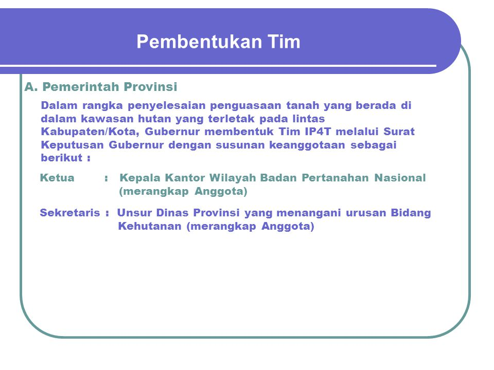 Pembentukan Tim A. Pemerintah Provinsi