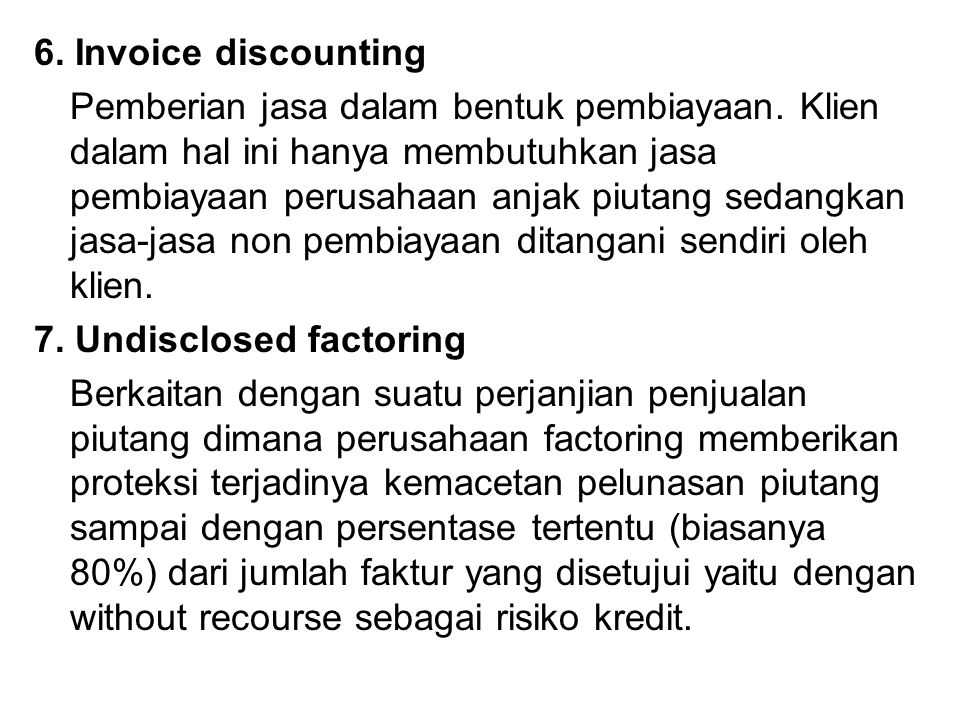 6. Invoice discounting
