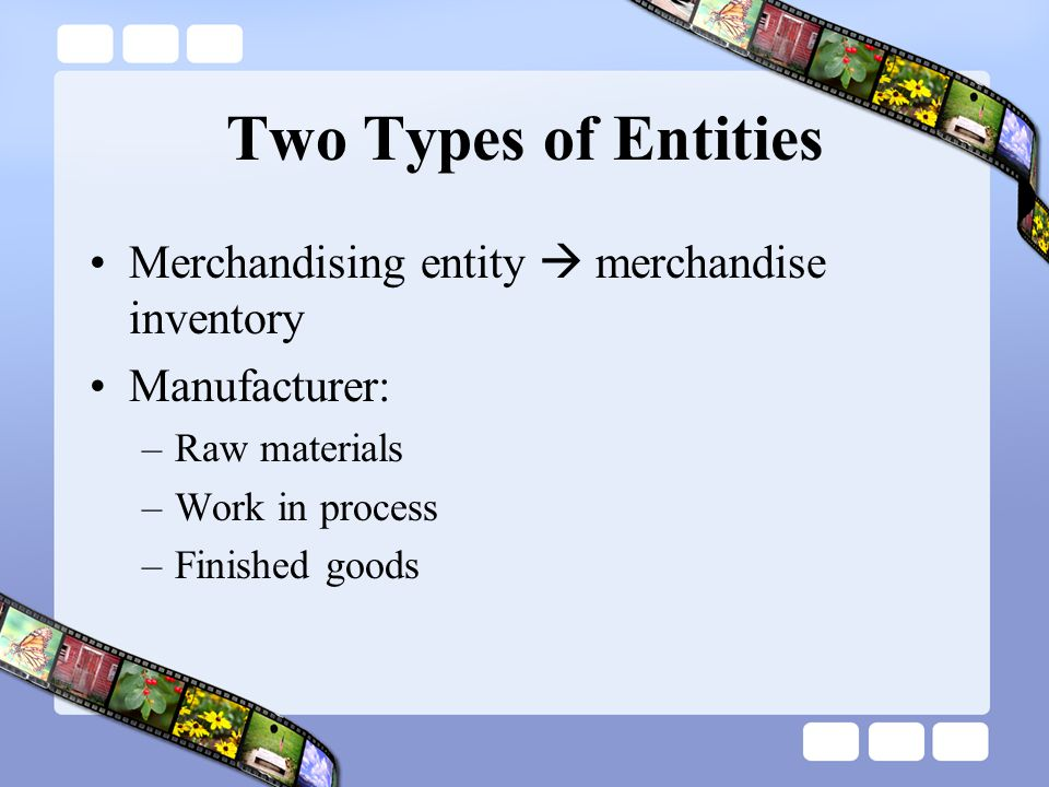 Two Types of Entities Merchandising entity  merchandise inventory