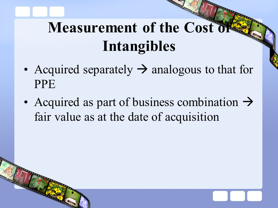 Measurement of the Cost of Intangibles