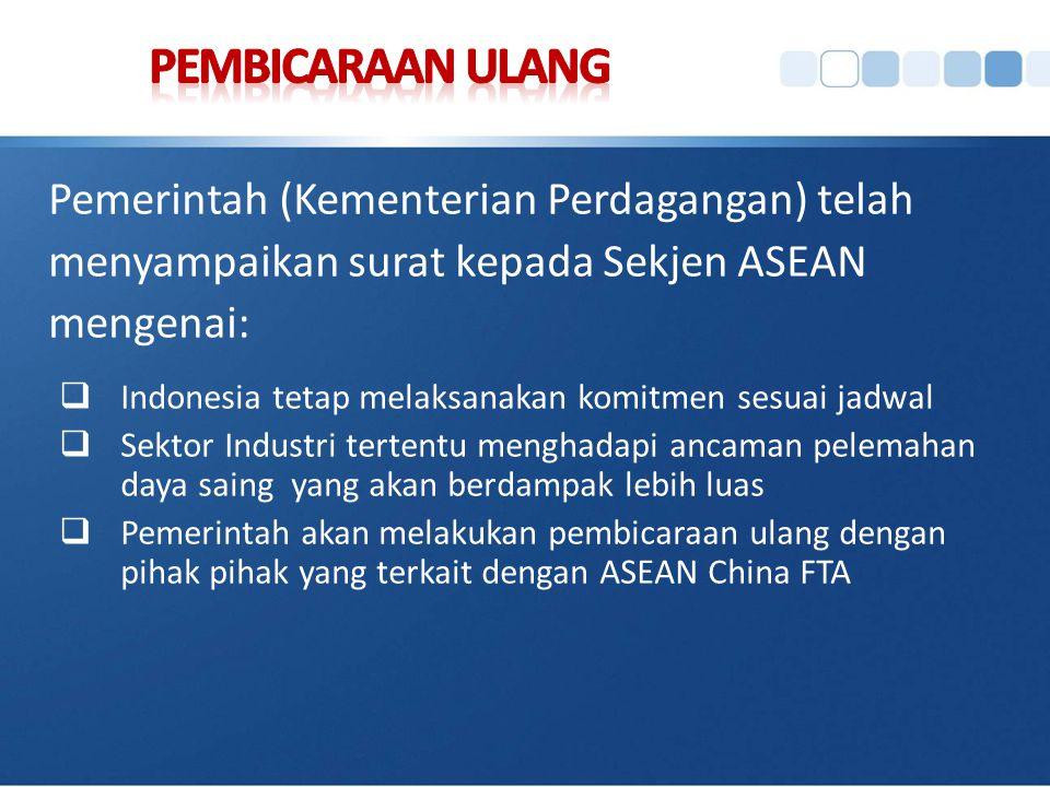 PEMBICARAAN ULANG Pemerintah (Kementerian Perdagangan) telah menyampaikan surat kepada Sekjen ASEAN mengenai: