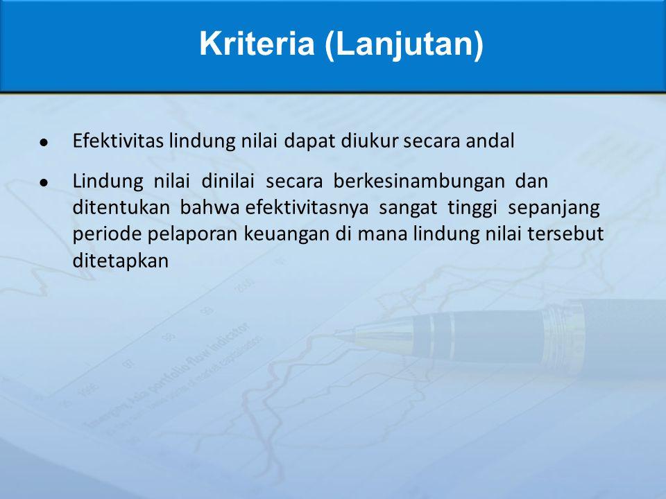 Kriteria (Lanjutan) Efektivitas lindung nilai dapat diukur secara andal.