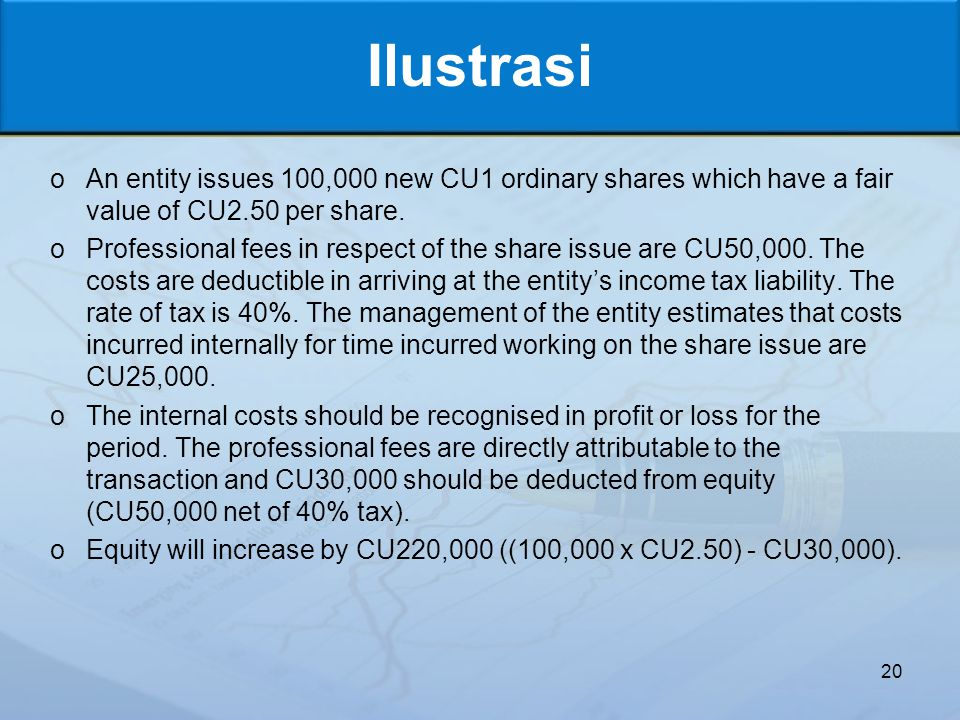 Ilustrasi An entity issues 100,000 new CU1 ordinary shares which have a fair value of CU2.50 per share.