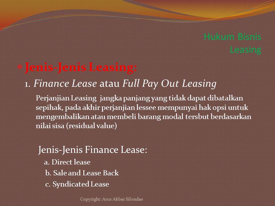 Jenis-Jenis Leasing: Hukum Bisnis Leasing