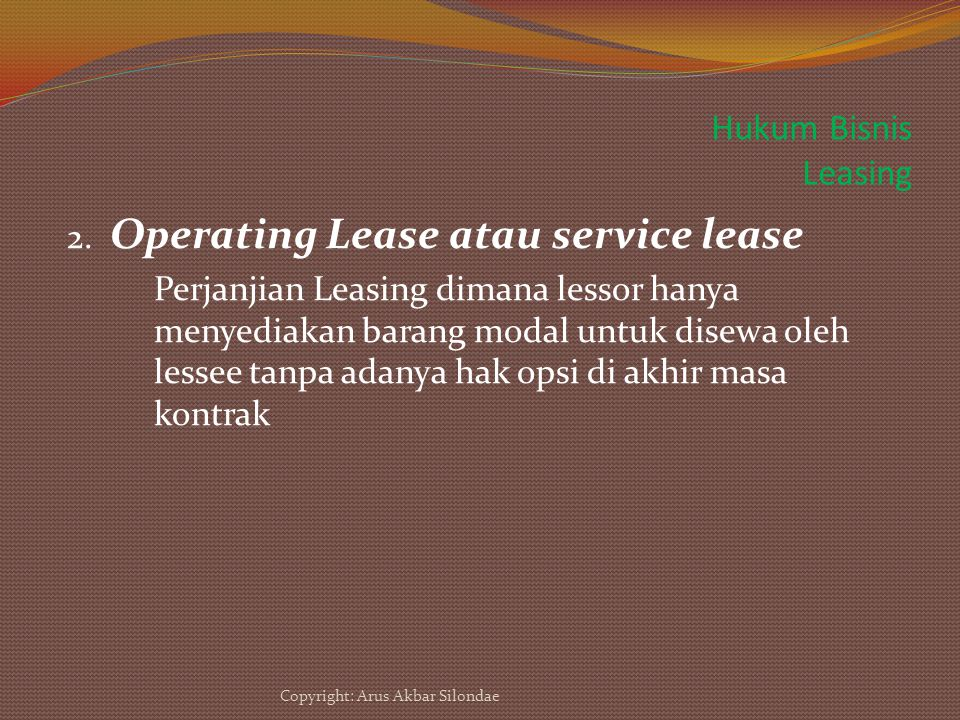 Hukum Bisnis Leasing