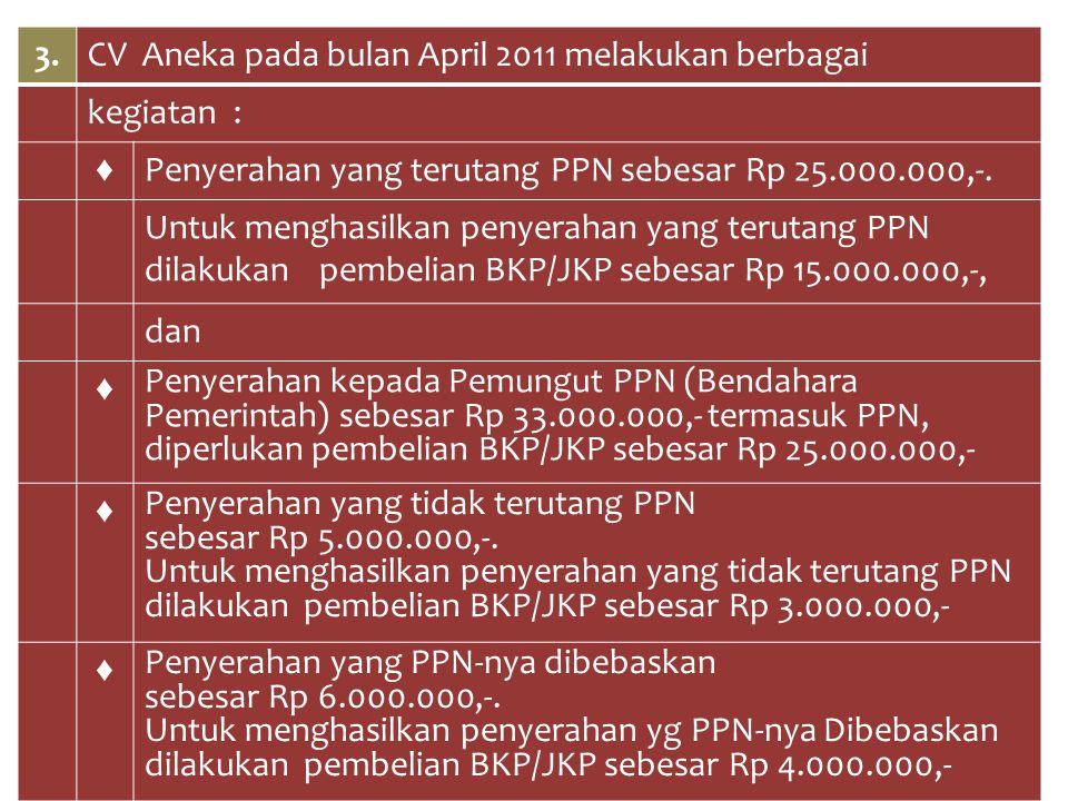 3. CV Aneka pada bulan April 2011 melakukan berbagai. kegiatan : ♦ Penyerahan yang terutang PPN sebesar Rp 25.000.000,-.