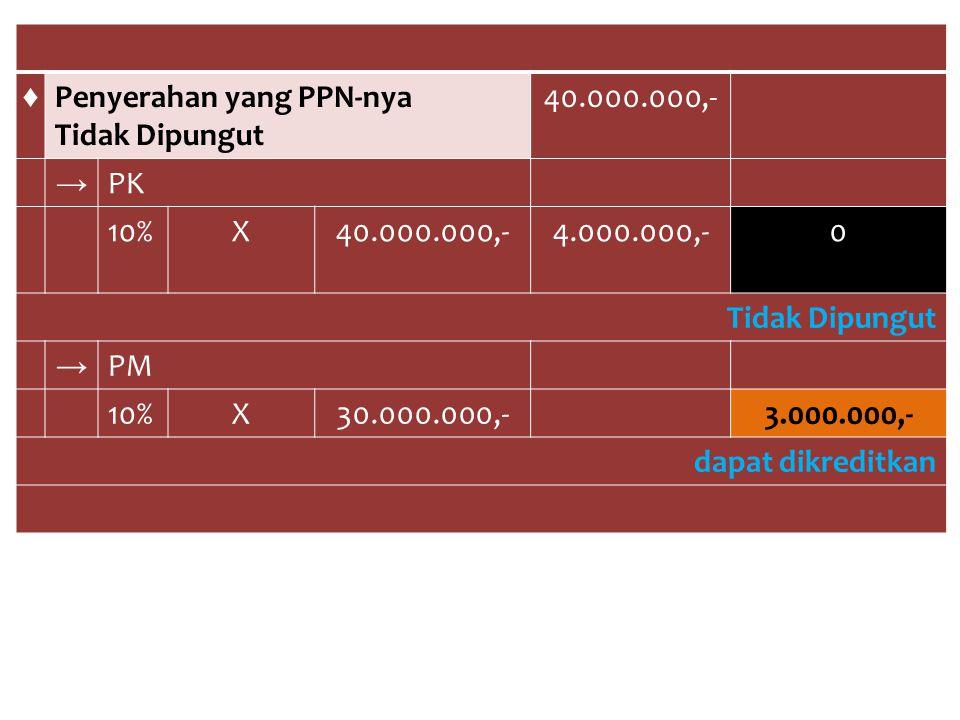 ♦ Penyerahan yang PPN-nya. Tidak Dipungut. 40.000.000,- → PK. 10% X. 4.000.000,- PM. 30.000.000,-