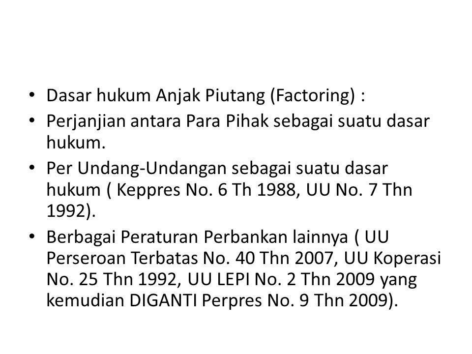 Dasar hukum Anjak Piutang (Factoring) :