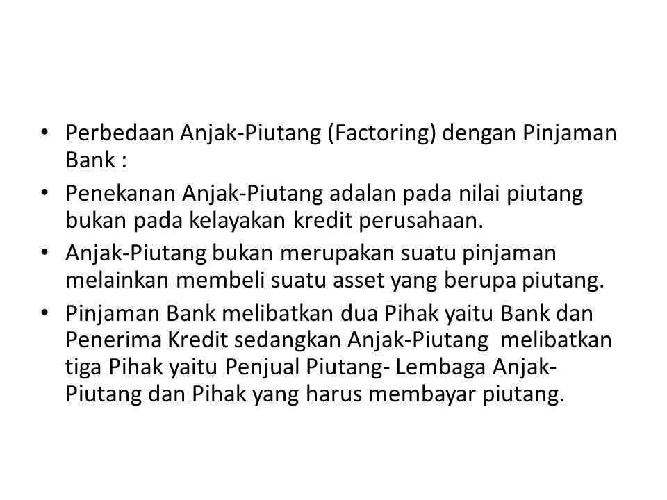 Perbedaan Anjak-Piutang (Factoring) dengan Pinjaman Bank :