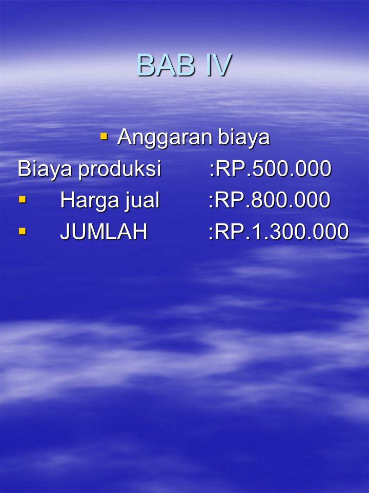 BAB IV Anggaran biaya Biaya produksi :RP.500.000